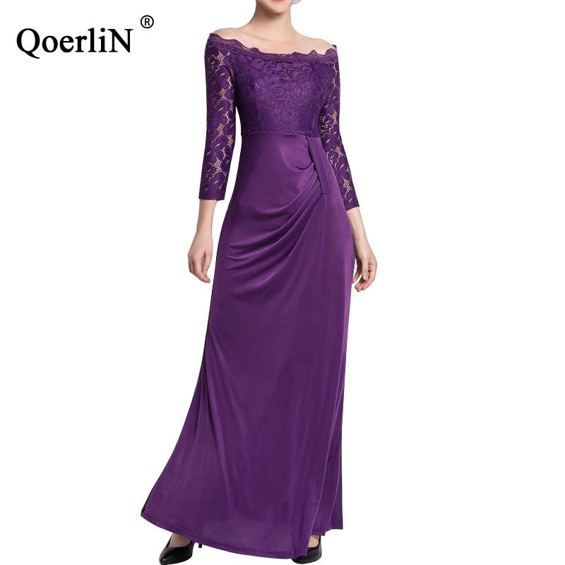 QoerliN violet dentelle robe femmes 2019 fête robe élégante femmes cheville longueur Slim robes Slash cou longue Maxi robe grande taille