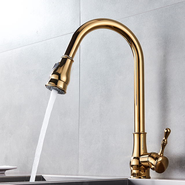 Uythner Modern Faucet Luxury Brass Gold Kitchen Faucet Rotatable Mixer Tap Single Sharp Handle Single Hole Hot&Cold Water