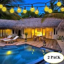 Fairy-Lights Garlands Solar-Lamp Crystal-Ball Led-String Christmas-Decor Power LEDS Garden