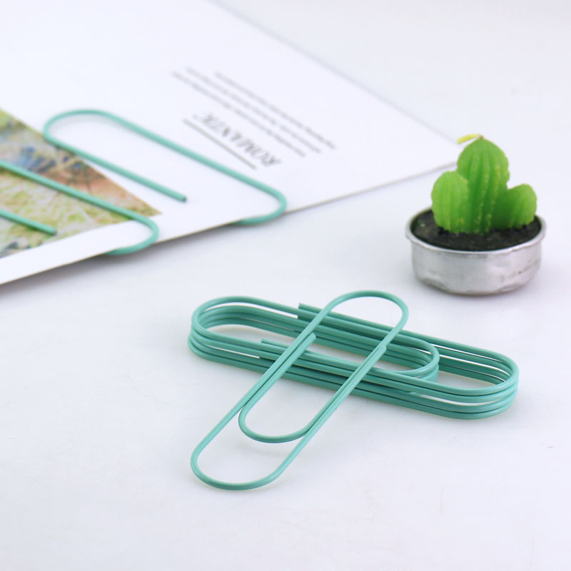 TUTU 8pcs /lot 100mm Big Size Paper Clips Effective Office Supplies Large Sky Blue Clip Bookmark Metal Office Accessories H0182