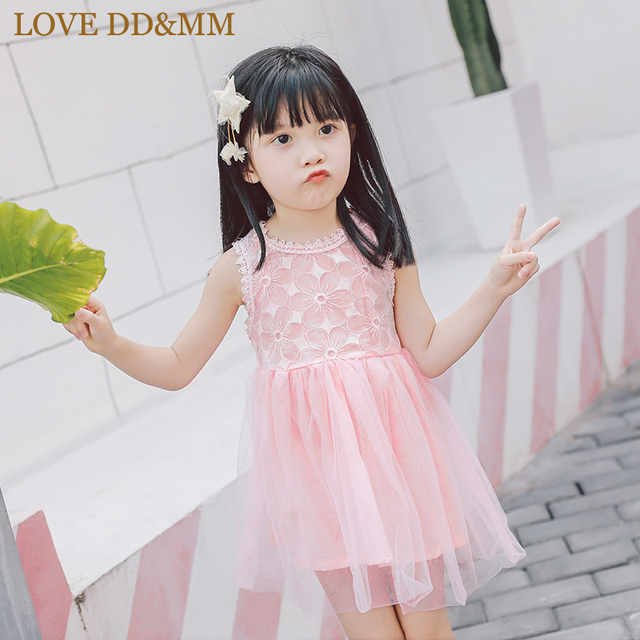 498652345f1f LOVE DD MM Girls Dresses 2018 Summer New Children s Wear Girls Sweet  Embroidered Dream Mesh Gauze Vest Dress