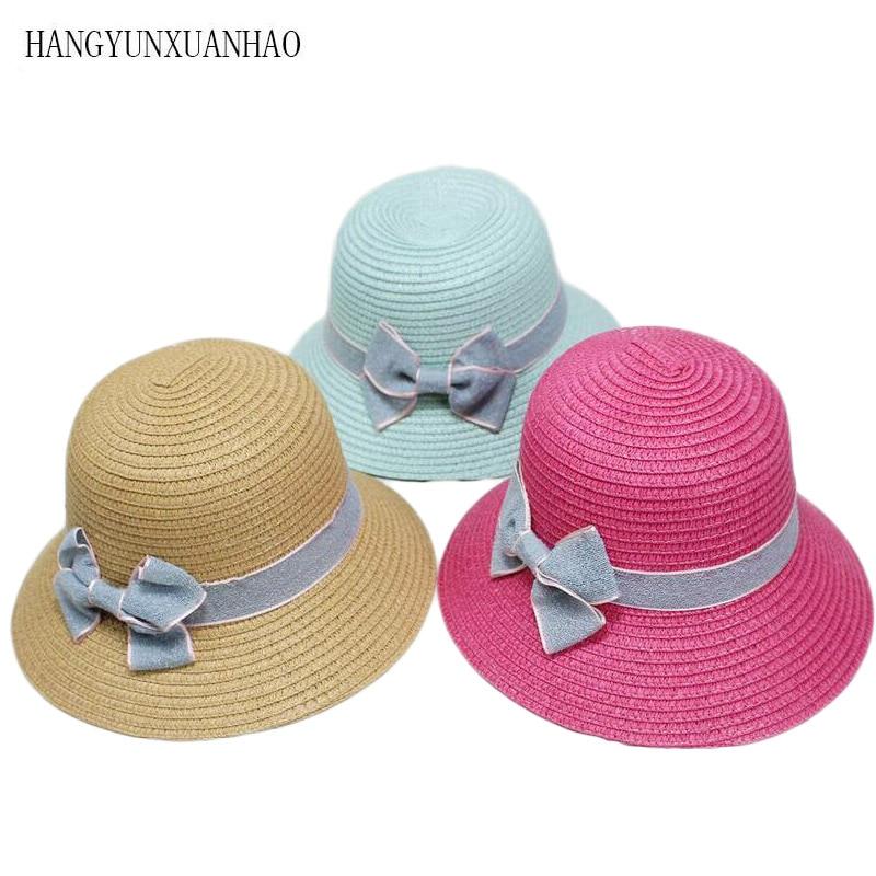 Parent-Child Straw Hats Cute Child Girls Hat Bowknot Sun Kids Large Brim Beach Summer Round Flat Top Fedora