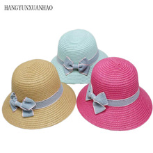 Parent-Child Straw Hats Cute Child Girls Hat Bowknot Sun Kids Large Brim Beach Summer Round Flat Top Fedora