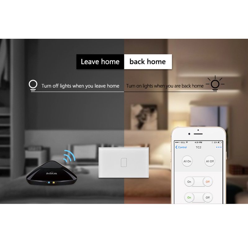 Broadlink RM PRO Universal Intelligent WIFI IR RF Remote Controller TC2 2 Gang ON OFF Remote Light Switch Via IOS AndroidPhone in Smart Remote Control from Consumer Electronics
