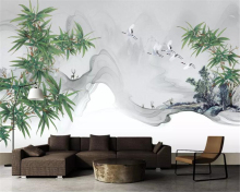 Beibehang 3D wallpaper living room bedroom murals modern New Chinese bamboo artistic conception ink landscape TV wall