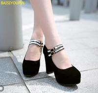 2018 platform scrub surface thick high heeled single shoes wedding shoes bridal shoes custom bigger small size 31 43