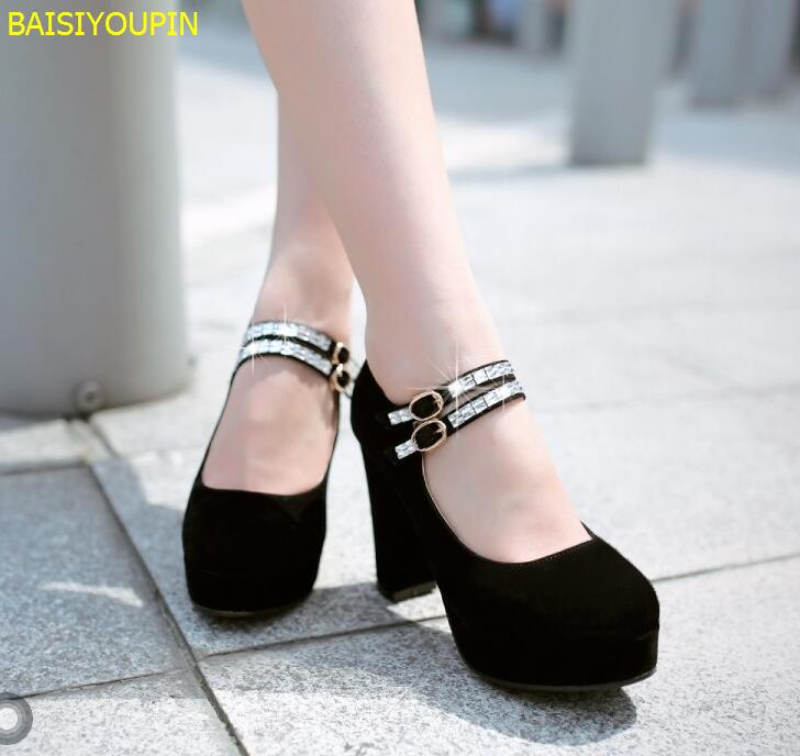 2018 Platform Scrub Surface Thick High Heeled Single Shoes