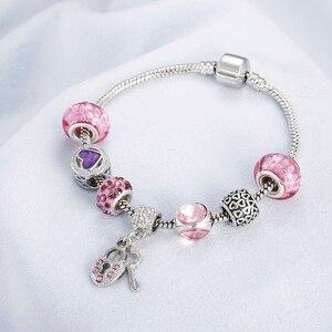 Pulsera de cadena de serpiente dulce de alta calidad para chica, colgante de corazón de libélula de arco iris, colgante de piedra de cristal rosa para mujer, brazaletes de joyería