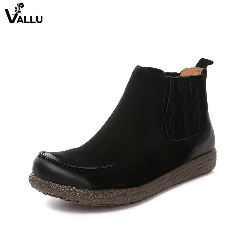 Vachette Rétro coffee S Bottines Femmes Dame Cuir Chaussures Main Femelle En Bande Noir 2018 Plates Chaussons De Élastique zqOxwtTFtU