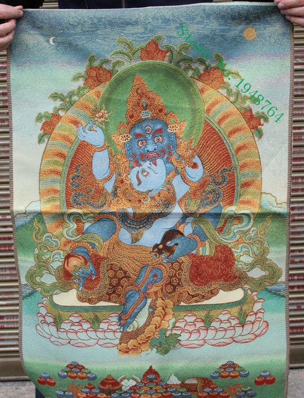 "24/"" Tibet Buddhism Cloth Silk embroidery Dorje Phakmo Vajravarahi Thangka mural"