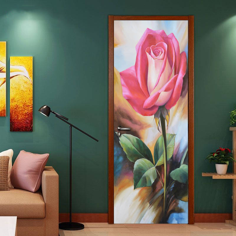 PVC Waterproof Thickened Self-adhesive Door Stickers Mural Wallpaper Home Decor Rose Flower HD Oil Painting Bedroom Door Sticker auto accessories chameleon sticker 30m 1 52m functional car pvc red copper color stickers home decorative films stickers