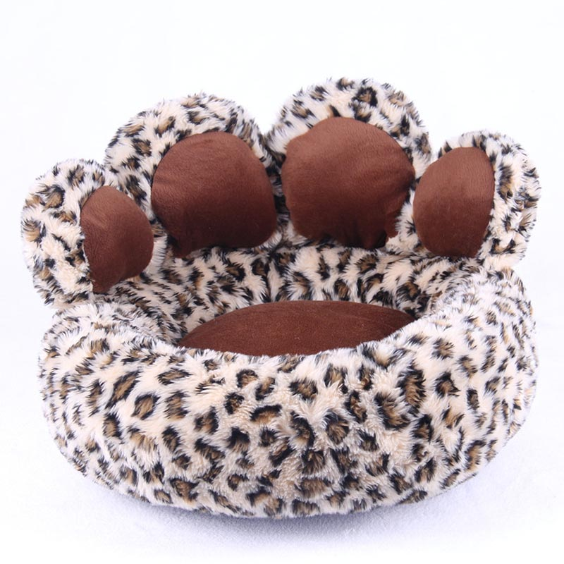 Funny bear paw fleece winter warm dog puppy soft pad bed house nest washable leopard small