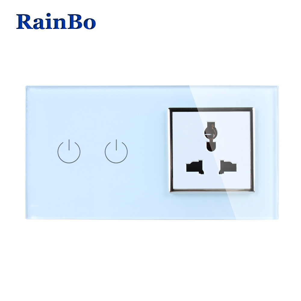 RainBo Luxury Touch Screen Control Tempered Crystal Glass Panel Wall Light Home Touch Switch Multi-function Socket  A29218MUW/B 2017 hot bluetooth multi function audio intelligent family host background music system lcd screen touch light dimmer 2 speakers