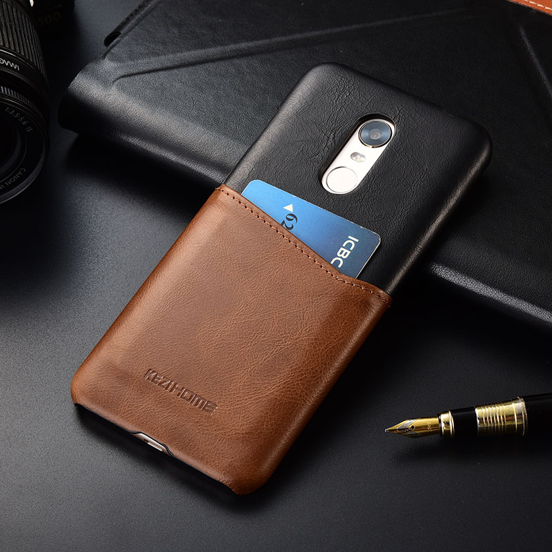 Luxury vintage genuine leather back cover for xiaomi redmi 5 plus case with card pocket holder phone cases and covers