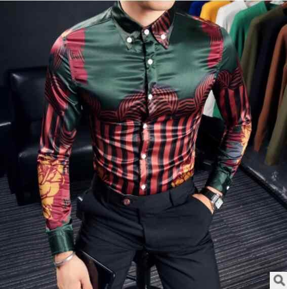 CH. KWOK Camisa estampada a rayas de manga larga Camisa barroca elegante Elegante ropa Vintage para hombres Fiesta Club Camisa Masculina 3XL