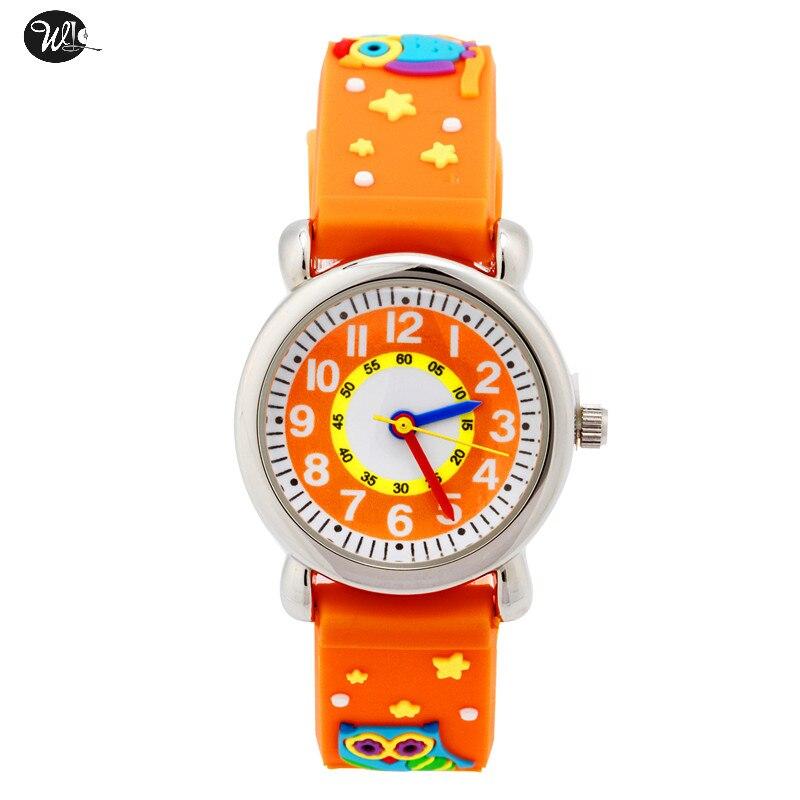 Children's Watch 3D Strap Cartoon Boy Girl Owl Quartz Watch Pointer Electronic Waterproof Watch Child Gift Watch