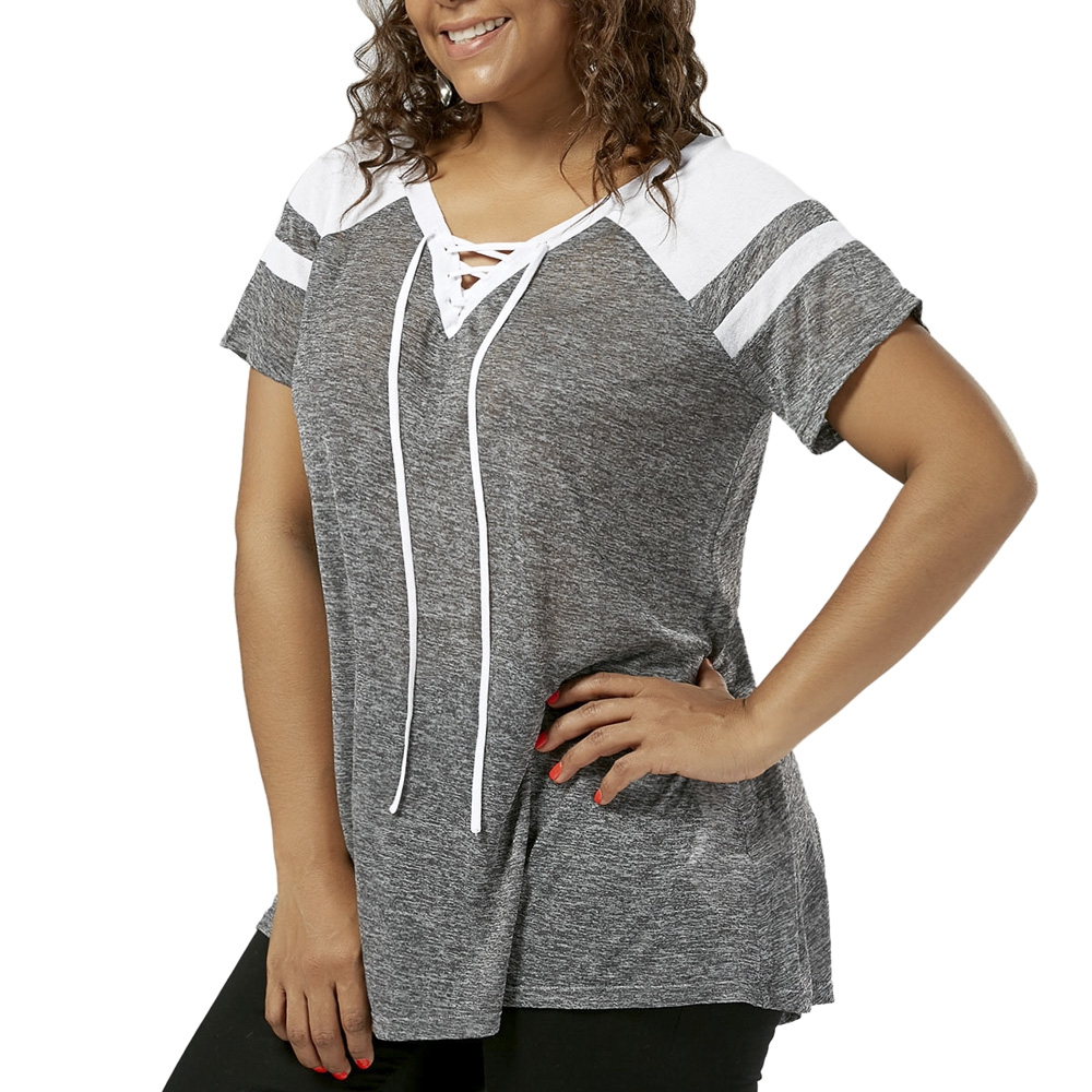 Charmma women plus size lace up t shirt raglan short for Large shirt neck size