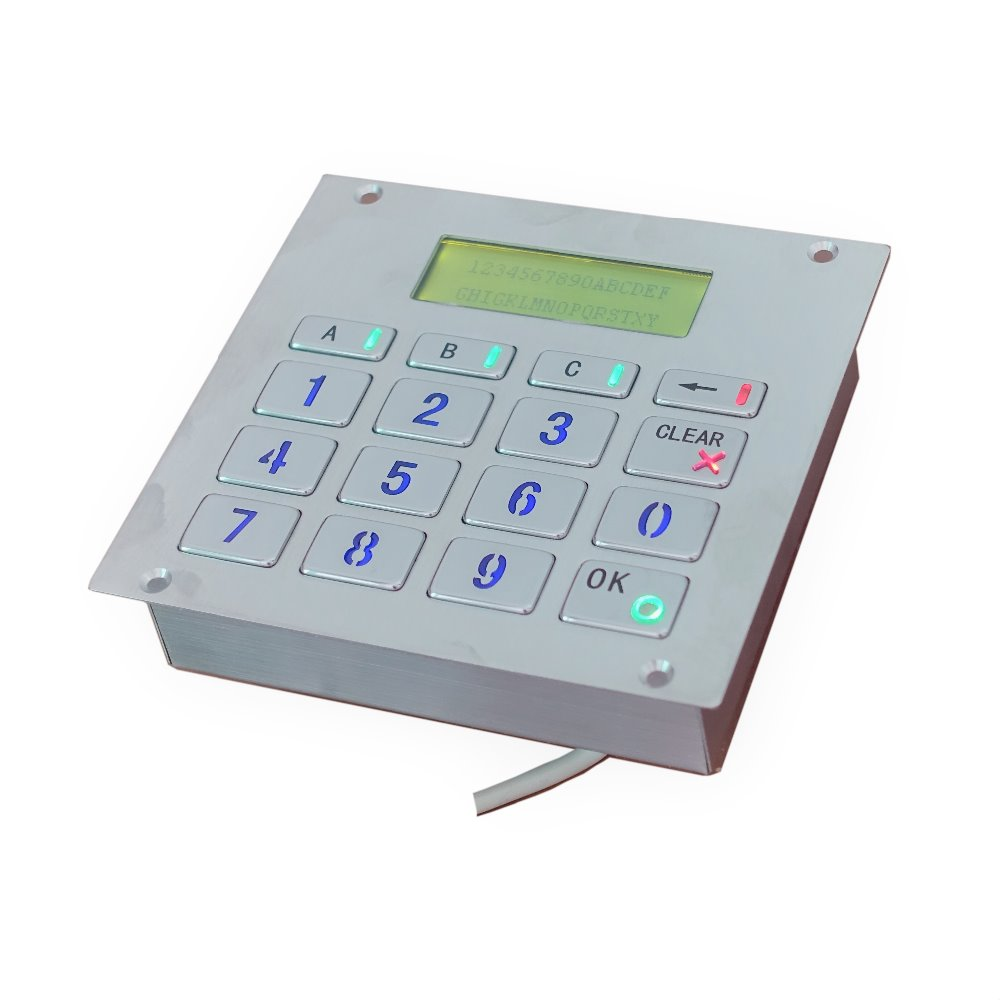 16 keys top mount metal illuminated key button RS232 interface backlit keypad with LCD display for