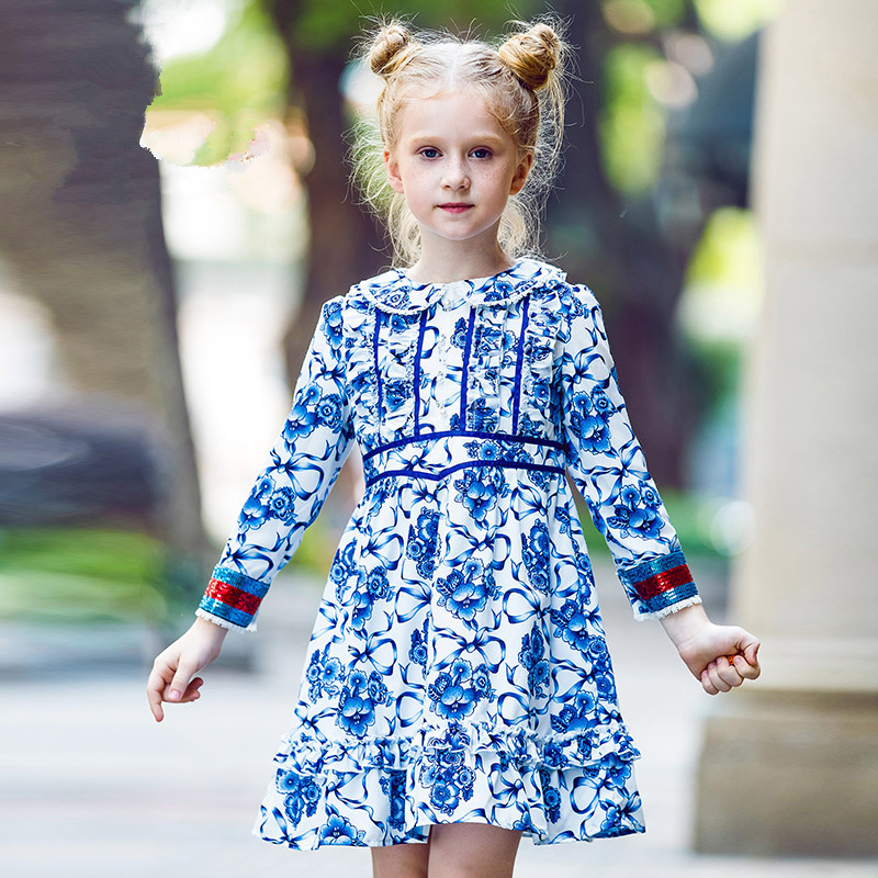 W.L.Monsoon Autumn New National Style Blue and White Porcelain Print Dress Doll Collar Long Sleeve Girls Dress sweet style short sleeve scoop collar see through letter print dress for women