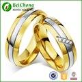 18 k Modificação Zircão Anel Casal Amante de Aço Inoxidável Banhado A Ouro 6mm de Largura para o Aniversário de Casamento