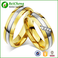 18 k Modification  Zircon Gold Plated Stainless Steel 6mm Width Couple Lover Ring for Wedding Anniversary