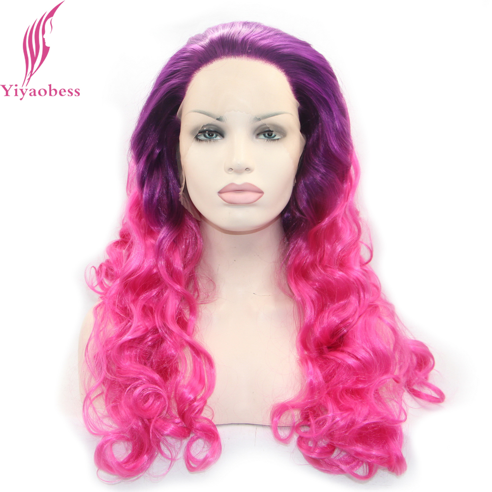 Yiyaobess Curly Lace Front Wig Synthetic Heat Resistant Long Purple Pink Ombre Wigs For African American Women ...