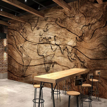 Custom Any Size Mural Wallpaper Retro Wood Grain World Map Photo Restaurant Cafe Background Wall Painting Home Decor