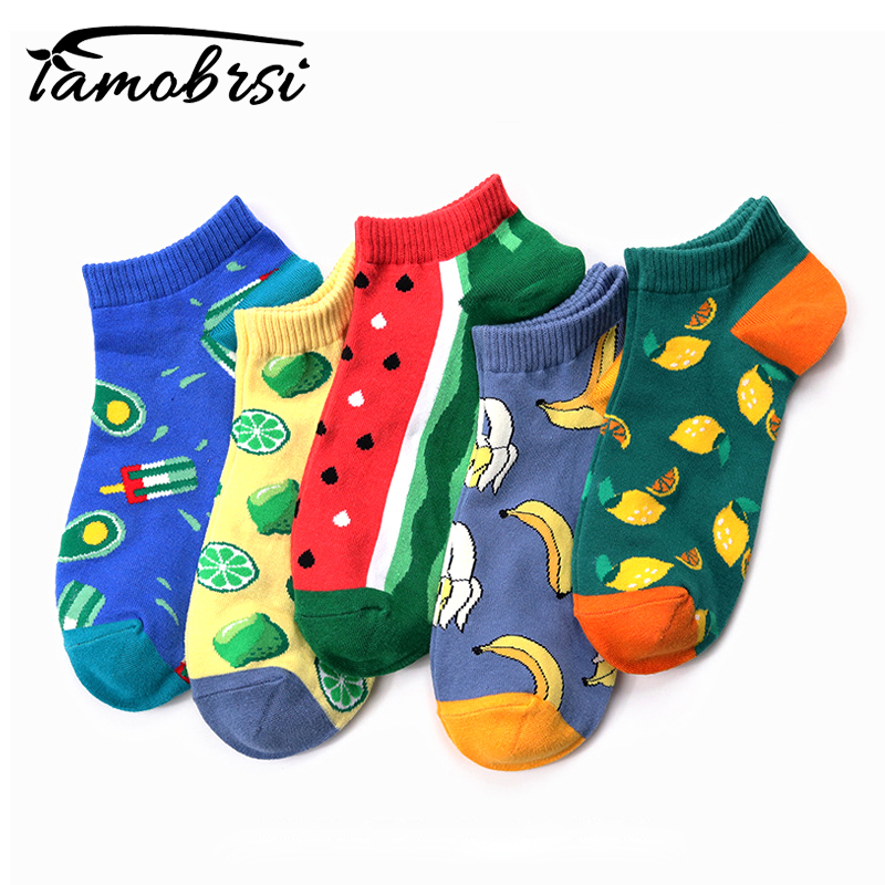 2019 Summer Creative Pattern Watermelon Lemon New Fruit Boat Socks Women Men Socks Fruit Cotton Happy Funny Ankle Casual Socks