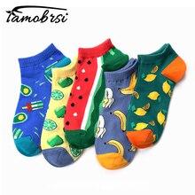 2019 Summer Creative Pattern Watermelon Lemon New Fruit Boat Socks Women Men Cotton Happy Funny Ankle Casual