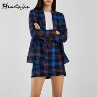 Huaxiafan Blue Plaid Blazer Women Office Lady Suits Long Sleeves Notched Single Button Winter Women Blazers And Jackets 2018