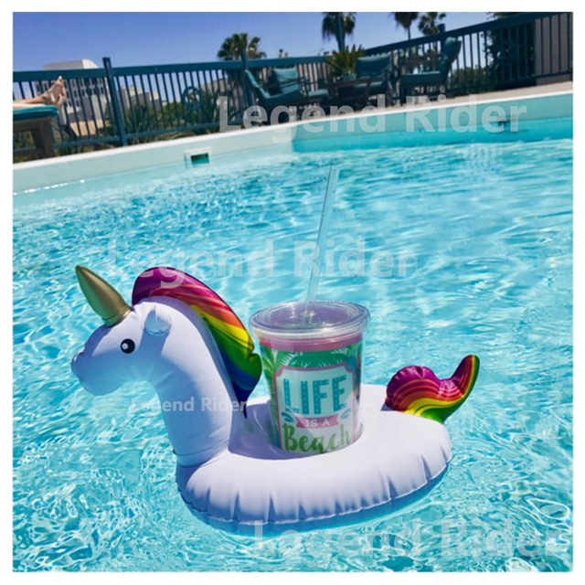 Swimming Pool Mini Inflatable Unicorn Holder Drink Cup Rainbow Horse Float Flamingo Beach Phone Bracket