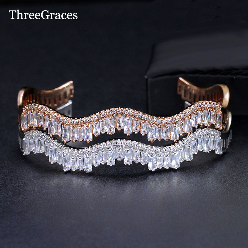 ThreeGraces Brilliant Multi-layered Baguette Bracelet S Shape Setting AAA Cubic Zirconia Big Cuff Bangle Ladies CZ Jewelry BA015