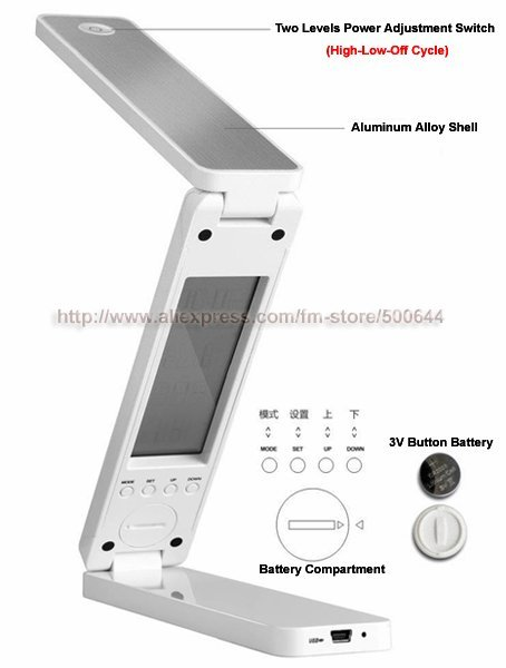 Free Shipping Portable Rechargeable Folding LED Light Book Reading Lamp with Calendar Clock Alarm Thermometer