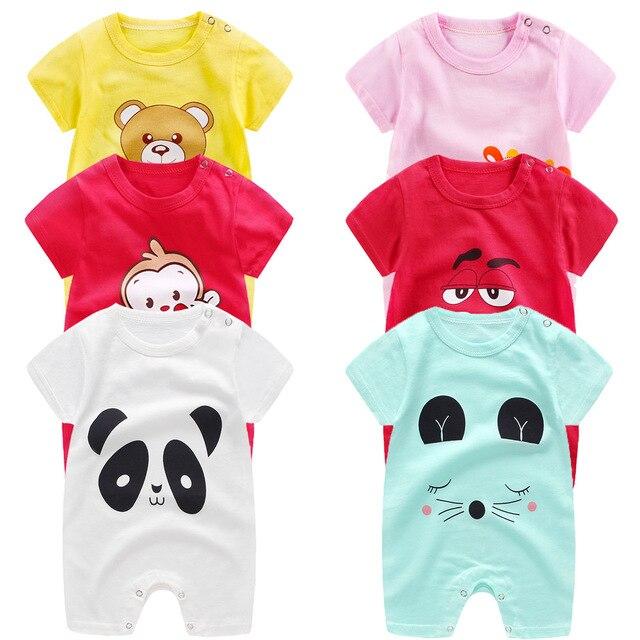 Bé quần áo 100% cotton ngắn tay áo mùa hè cô gái chàng trai rompers toddler trẻ sơ sinh 0-18 tháng quần áo