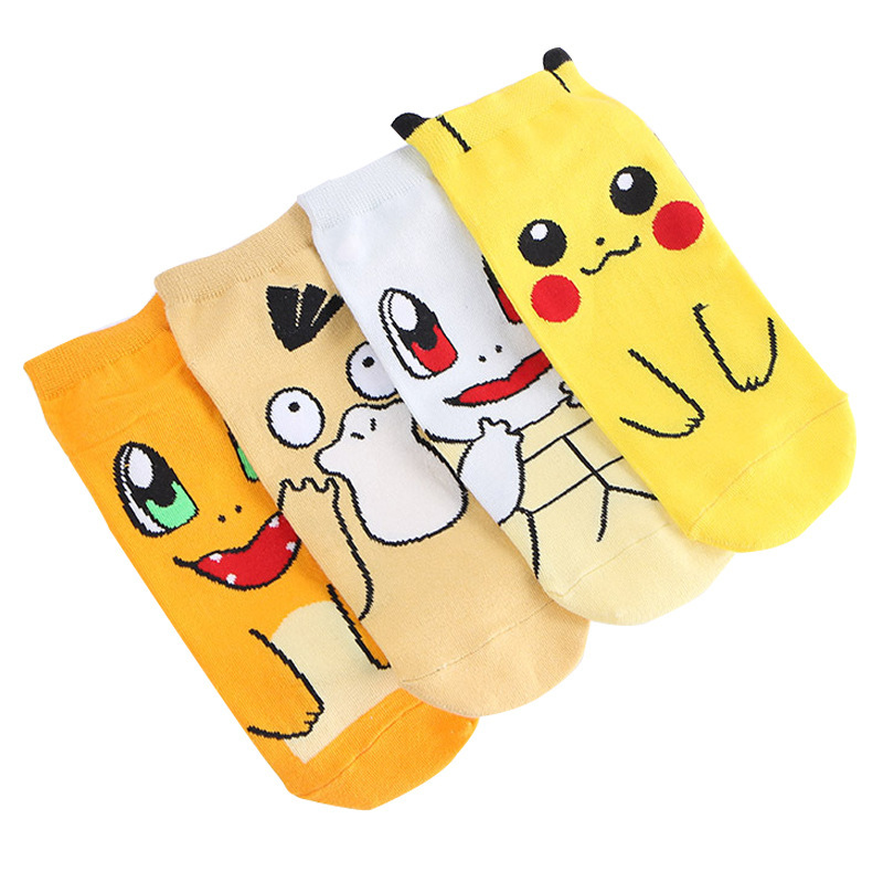 4 Pair/set Cute Pokemon Ankle Socks Pikachu/Squirtle/Psyduck/Charmander Women Short Cotton Casual Socks Girls Christmas Gift