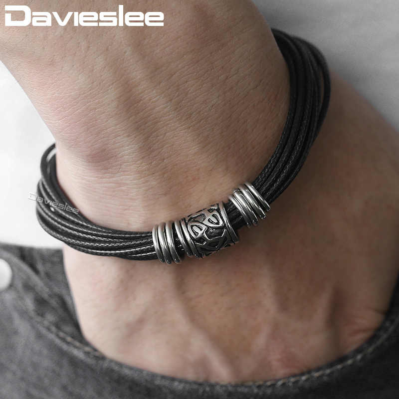 Davieslee Mens Leather Bracelet Black Tone Multilayer Braided Leather Bracelets For Men Stainless Steel Magnetic Clasps LDLB104