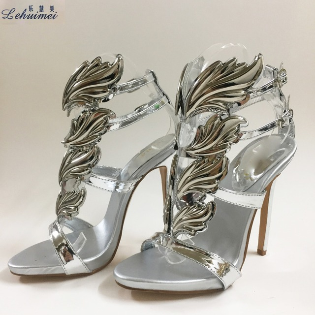 21040a8180d New Arrival Hot sell women high heel sandals silver leaf flame gladiator sandal  shoes party dress shoe woman patent leather