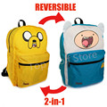 Jack y finn Adventure Time Mochila Bolsa Mochilas escolares para Adolescentes Niños Niñas Cartoon taleguilla de la cartera de Doble Cara Mochila