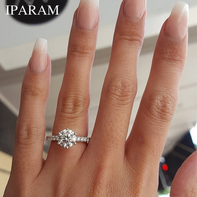 IPARAM 2019 Classic Engagement Ring 6 Claws Design AAA White Cubic Zircon Female