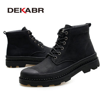 DEKABR Black Warm Winter Men Boots Genuine Leather Ankle Boots Men Winter Work Shoes Men
