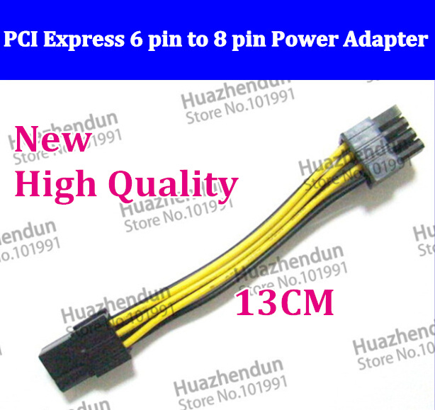 10pcs-500pcs 100% NEW PCI Express 6 pin to 8 pin Power Adapter Cable PCI E 20pcs/lot free shipping   6pint o 8pin free shipping s9 t9 controlboard xc7z010 socket 754 pci express x16 tested well