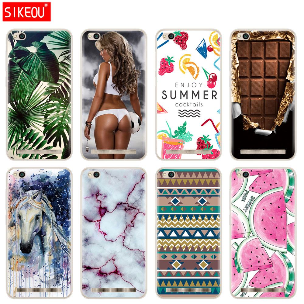 SIKEOU Soft Silicone TPU Case for Xiaomi Redmi 5A 5.0 inch Phone Case for Hongmi 5A Shell Painted Cover for Redmi 5a cute funny