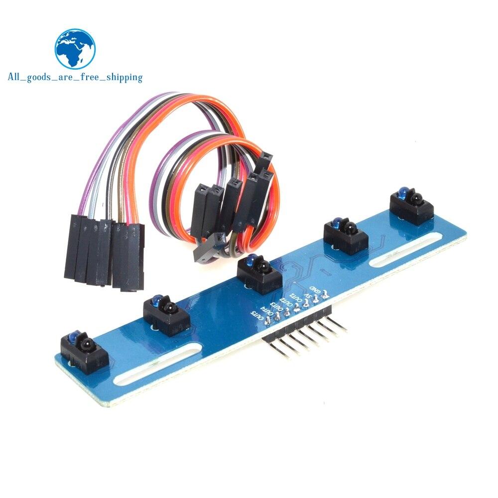 MH-ET viver 5 canais infravermelho sensor reflexivo tcrt5000 kit 5 vias/estrada ir interruptor fotoelétrico barreira linha módulo pista
