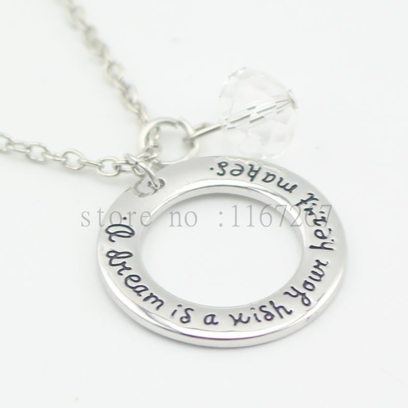 2016 cinderella graduation quote necklace a dream is a. Black Bedroom Furniture Sets. Home Design Ideas