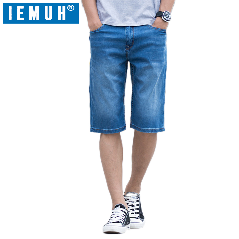 IEMUH Summer New Plus Size Jeans Pants Man Denim Jeans Casual Middle Waist Loose Knee Pants Male Solid Straight Jeans Breathable afs jeep autumn jeans mens straight denim trousers loose plus size 42 cowboy jeans male man clothing men casual botton