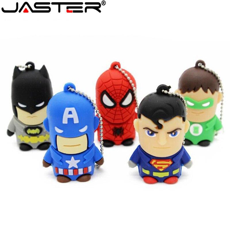 JASTER Cartoon Superman Spiderman Batman Captain America Silicone USB Flash Drive Pen Drive 2GB 4GB 8GB 16GB 32GB USB 2.0 HOT