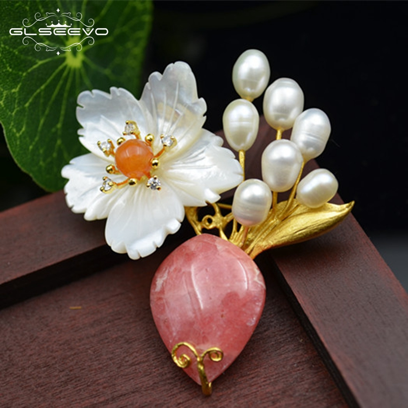 GLSEEVO Natural Fresh Water Pearl Rhodochrosite Brooch Pin Shell Flower Brooches For Women Dual Use Luxury Fine Jewelry GO0130GLSEEVO Natural Fresh Water Pearl Rhodochrosite Brooch Pin Shell Flower Brooches For Women Dual Use Luxury Fine Jewelry GO0130