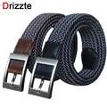 Drizzte 110 130 150cm 51'' 59'' Plus Size Elastic Woven Braid Black Brown Men's Belt Band Trouser Pants Mens Belts XL XXL XXXL