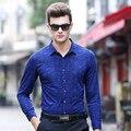 Marca de alta calidad de Lana de Los Hombres Camisas de Manga Larga Casual Masculina Camisas de negocios camisa de vestir para hombre más tamaño Camisa de Lino homme