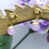 10mm Retro Style Popular Purple Chalcedony Beads Stone Earrings For Women Shoes For Girls Female Gifts Earbob Earring Handmade J